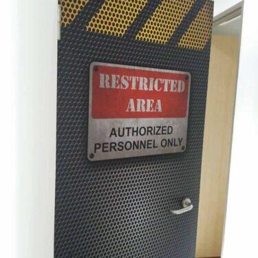 Restricted area door decal
