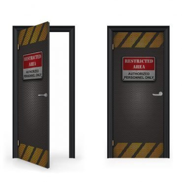 Restricted area door sticker